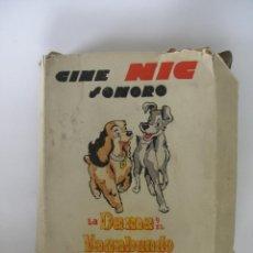 Juguetes Antiguos: CINE NIC SONORO LA DAMA Y EL VAGABUNDO CAJA CON TRES PELÍCULAS SIN USO. Lote 193810733