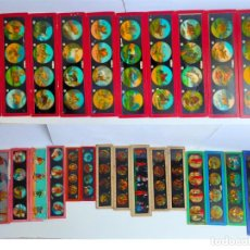 Juguetes Antiguos: 26 CRISTALES DE LINTERNA MAGICA PRINCIPIO S XX ALEMANAS BING.. Lote 217463933