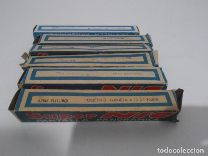 Juguetes Antiguos: MAQUINA CINE SUPER NIC, PANTALLA PANORAMICA, CAJA ORIGINAL CON PELICULAS, AÑOS 60 - Foto 11 - 235800385