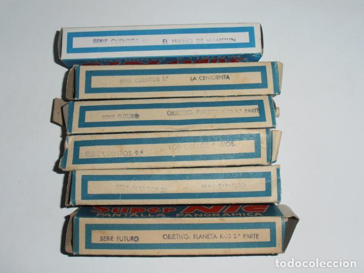 Juguetes Antiguos: MAQUINA CINE SUPER NIC, PANTALLA PANORAMICA, CAJA ORIGINAL CON PELICULAS, AÑOS 60 - Foto 12 - 235800385