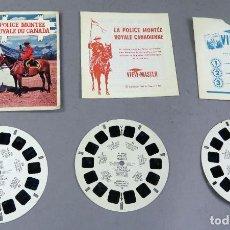 Juguetes Antiguos: VIEW MASTER POLICE MONTEE ROYALE DU CANADÁ 3 PELÍCULAS FOLLETO Y FUNDA EN FRANCÉS 1956. Lote 242096185