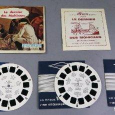 Juguetes Antiguos: VIEW MASTER LE DERNIER DES MOHICANS 3 PELÍCULAS FOLLETO Y FUNDA EN FRANCÉS 1960. Lote 242097050