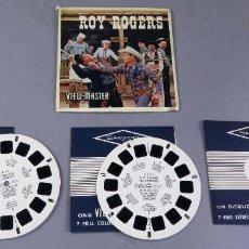Juguetes Antiguos: VIEW MASTER ROYS ROGERS 3 PELÍCULAS Y FUNDA EN FRANCÉS 1956. Lote 242098985