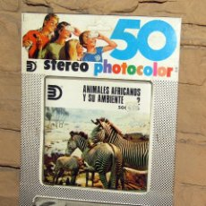 Giocattoli Antichi: 50 STEREO PHOTOCOLOR - AYPE - ANIMALES AFRICANOS Y SU AMBIENTE - STEREOPOCKET 3 DILAND. Lote 243539615