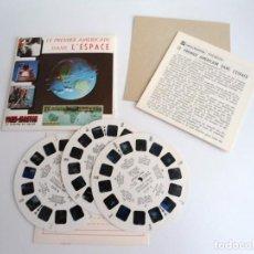 Juguetes Antiguos: LE PREMIER AMERICAIN DANS L`ESPACE TRES DISCOS Y LIBRO - VIEW MASTER (1962). Lote 242004305