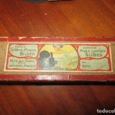 Juguetes Antiguos: LINTERNA MAGICA CAJA CON 15 CRISTALES,REGALADOS. Lote 252940915