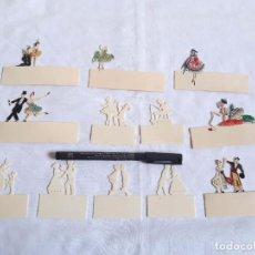 Juguetes Antiguos: CONJUNTO DE 12 SILUETAS DE TEATRO O CIRCO. HECHAS EN CELULOIDE.. Lote 261575115