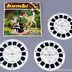 Juguetes Antiguos: VIEW MASTER BAMBI GAF MADE IN BELGIUM 1956 B 400 F CON LIBRO FRANCÉS Y 3 PELÍCULAS. Lote 295479383