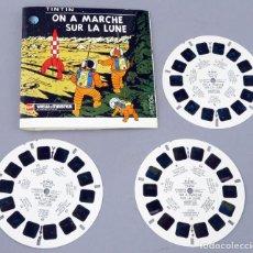 Juguetes Antiguos: VIEW MASTER TINTÍN ON A MARCHE SUR LA LUNE HERGE GAF MADE IN BELGIUM 1965 B 543 F LIBRO 3 PELÍCULAS. Lote 295480158