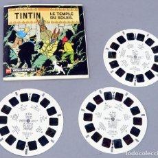 Juguetes Antiguos: VIEW MASTER TINTÍN LE TEMPLE DU SOLEIL HERGE GAF MADE IN BELGIUM 1949 B 542 F LIBRO 3 PELÍCULAS. Lote 295480473