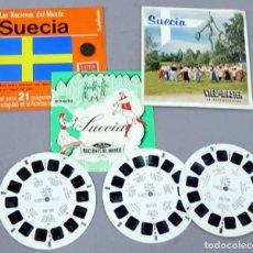 Juguetes Antiguos: VIEW MASTER SUECIA SAWYERS C 530 S NACIONES MUNDO CON LIBRO 3 PELÍCULAS Y MONEDA SUECA. Lote 295482748