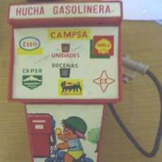 Juguetes antiguos Rico: JUGUETE HUCHA RICO . GASOLINERA . PUBLICIDAD CAMPSA, SHELL , CEPSA , ESSO SUPERMOTOROIL . 18/ 10 CM. Lote 40931890