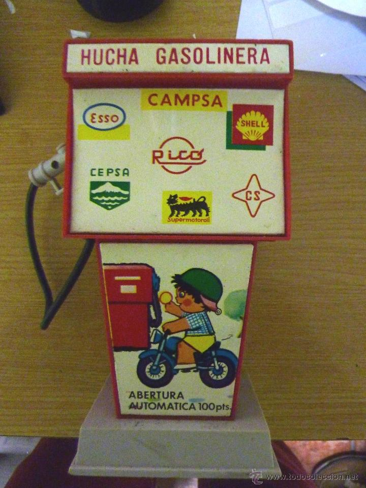 Juguetes antiguos Rico: Juguete hucha Rico . Gasolinera . publicidad Campsa, shell , Cepsa , Esso Supermotoroil . 18/ 10 cm - Foto 2 - 40931890