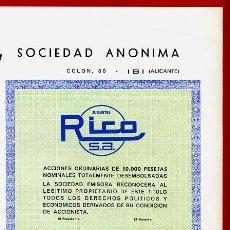 Juguetes antiguos Rico: ACCION JUGUETES RICO SA , IBI , ALICANTE , 10.000 PESETAS , ORIGINAL ,RB. Lote 57607736
