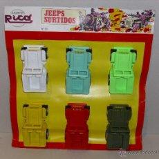 Juguetes antiguos Rico: CARTON NUEVO CON 6 COCHES,JEEP,JEEPS RICO AÑOS 70. Lote 46471840