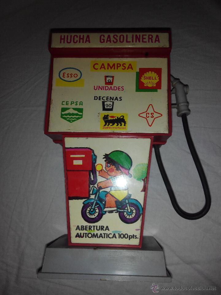 Juguetes antiguos Rico: Juguete hucha gasolinera Rico Gasolinera. publicidad Campsa, shell,Cepsa, Esso Supermotoroil AÑOS 70 - Foto 2 - 46877022