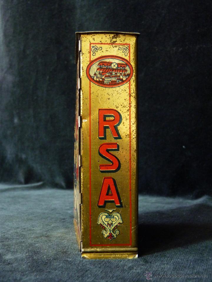 Juguetes antiguos Rico: ANTIGUA HUCHA DE HOJALATA RSA RICO. JUGUETE. LITOGRAFÍA. AÑOS 20 - Foto 2 - 47987864