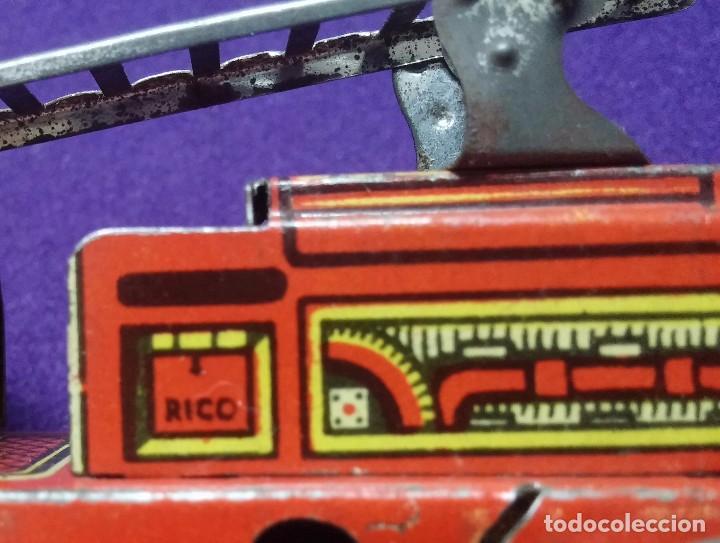 Juguetes antiguos Rico: ANTIGUO CAMIÓN DE BOMBEROS DE HOJALATA LITOGRAFIADA. JUGUETES RICO IBI. AÑOS 30 - Foto 4 - 67028182