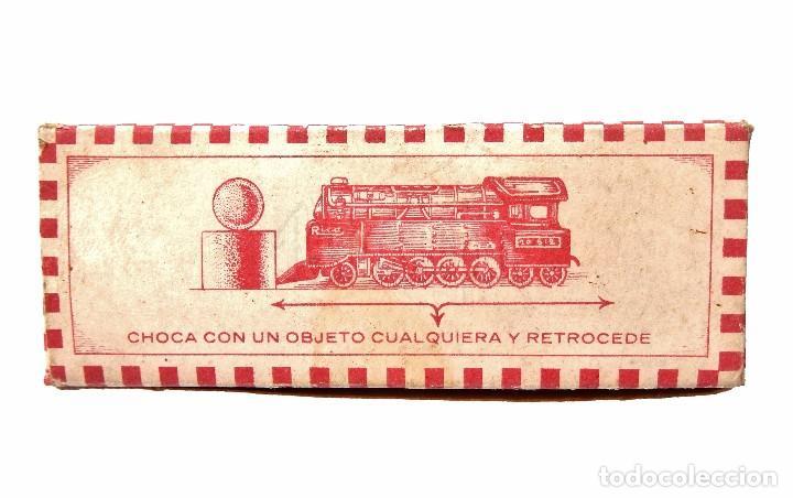 Juguetes antiguos Rico: CAJA ENVASE ORIGINAL DEL JUGUETE LOCOMOTORA Nº 144 A CUERDA DE HOJALATA DE RICO - Foto 2 - 68877097