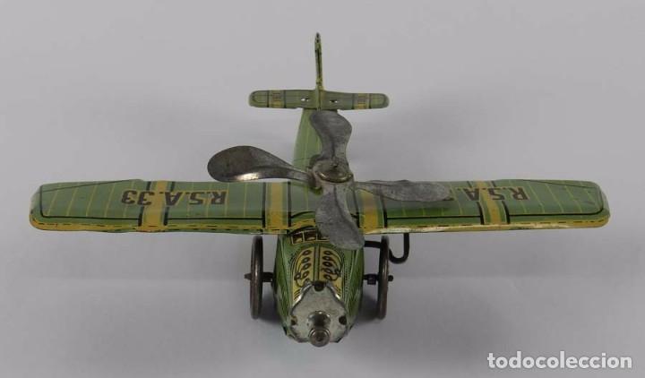 Juguetes antiguos Rico: Avión RSA RICO. Litografiado en muy brun estado. Años 30. Mide 22 cm. A cuerda,, funcionando perfect - Foto 3 - 73642227