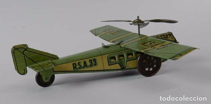 Juguetes antiguos Rico: Avión RSA RICO. Litografiado en muy brun estado. Años 30. Mide 22 cm. A cuerda,, funcionando perfect - Foto 5 - 73642227