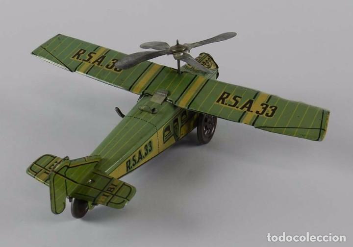 Juguetes antiguos Rico: Avión RSA RICO. Litografiado en muy brun estado. Años 30. Mide 22 cm. A cuerda,, funcionando perfect - Foto 6 - 73642227