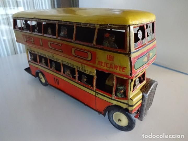 Juguetes antiguos Rico: Autobús RICO de 2 pisos en hojalata litografiada. 25 ctms. MBE - Foto 2 - 90167536