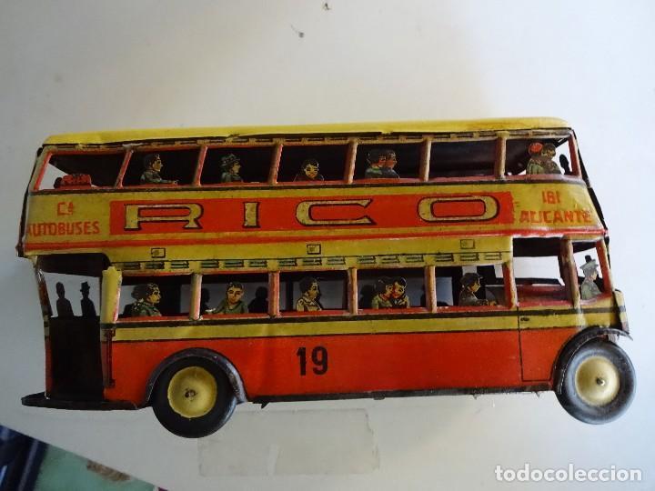 Juguetes antiguos Rico: Autobús RICO de 2 pisos en hojalata litografiada. 25 ctms. MBE - Foto 3 - 90167536