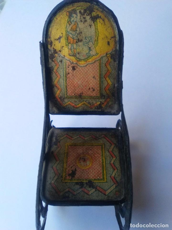 Juguetes antiguos Rico: Pareja antigua mecedora Rico hojalata litografiada - Foto 3 - 99929787