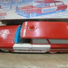 Juguetes antiguos Rico: COCHE BOMBEROS FUNCIONANDO AUTOMÁTICO FORD GALAXIE GALAXY RANCHERA SIRENA LUZ RICO 45. Lote 101314851