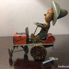 Juguetes antiguos Rico: VAQUERO MAREADO . HOJALATA LITOGRAFIADA. RICO. A CUERDA. FUNCIONA. 1950. VER VIDEO. Lote 142962865