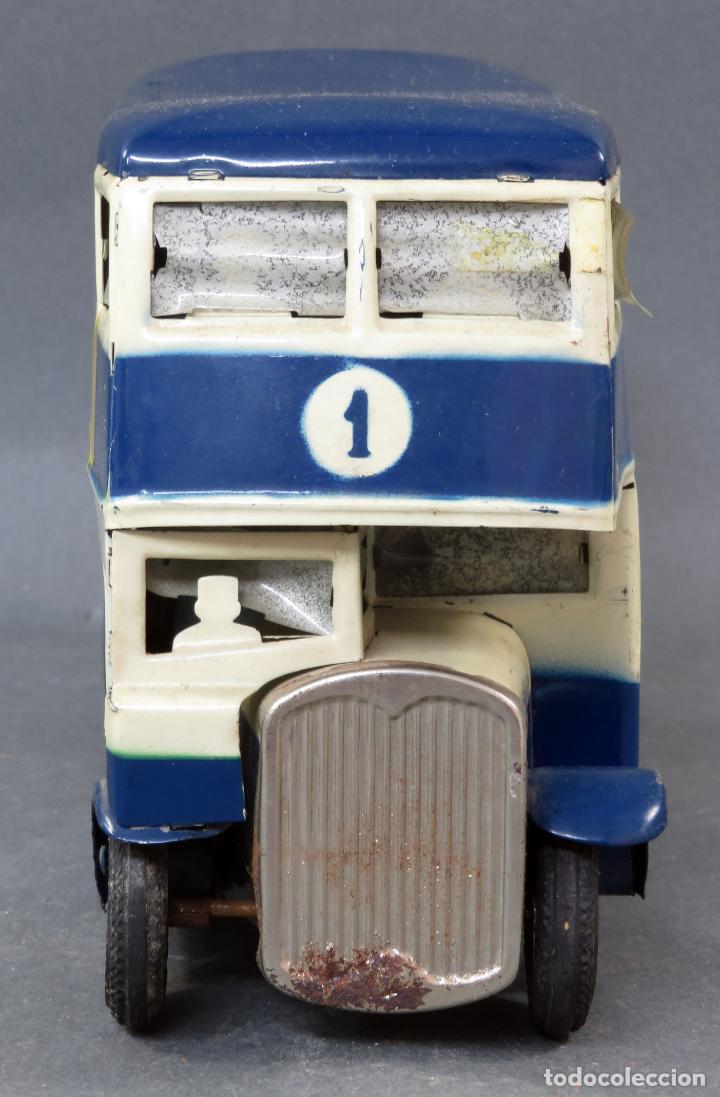 Juguetes antiguos Rico: Autobus dos pisos Rico Line Toy Trenes Eléctricos hojalata pasajeros silueta años 40 - 50 etiqueta - Foto 3 - 144097038