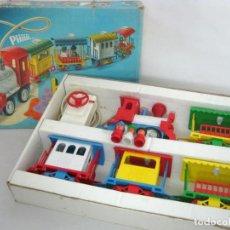 Juguetes antiguos Rico - BABY TREN Rico FUNCIONANDO Caja Original AÑOS 80 completo LOCOMOTORA + MANDO + 4 VAGONES + 4 MUÑECOS - 150831006
