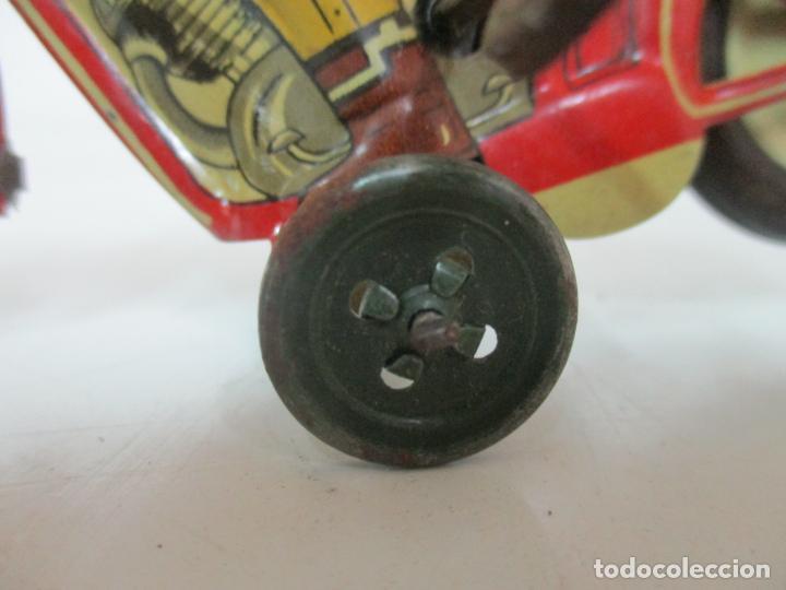 Juguetes antiguos Rico: Preciosa Moto Hojalata Litografiada - Marca Rico I -289 - a Cuerda, Funcionando - Años 30-40 - Foto 8 - 155617322