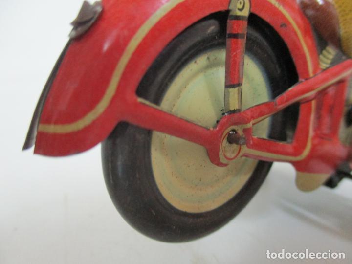 Juguetes antiguos Rico: Preciosa Moto Hojalata Litografiada - Marca Rico I -289 - a Cuerda, Funcionando - Años 30-40 - Foto 14 - 155617322