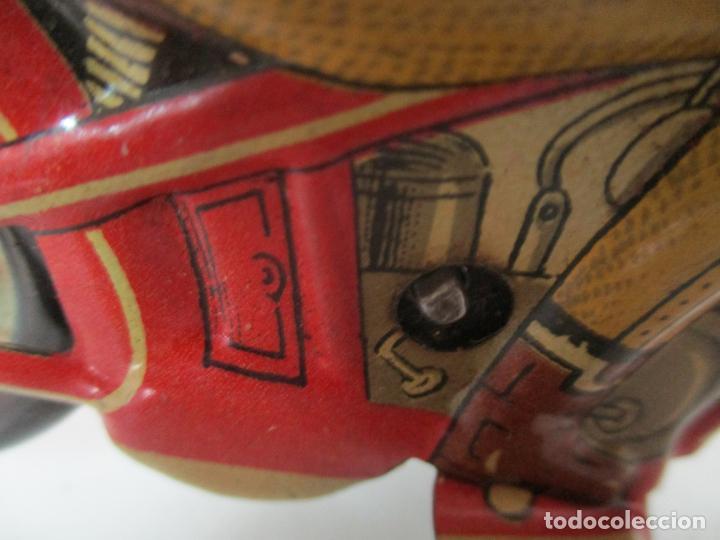 Juguetes antiguos Rico: Preciosa Moto Hojalata Litografiada - Marca Rico I -289 - a Cuerda, Funcionando - Años 30-40 - Foto 15 - 155617322