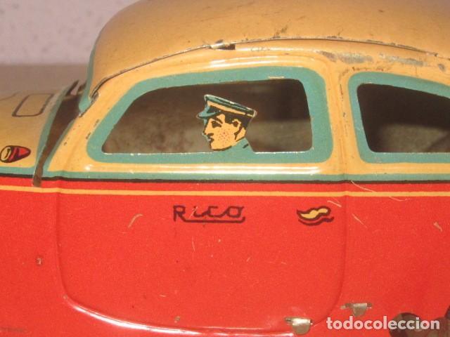 Juguetes antiguos Rico: RICO COCHE HOJALATA LITOGRAFIADA A CUERDA FUNCIONANDO AÑOS 30 PIEZA DE MUSEO - Foto 11 - 160720338