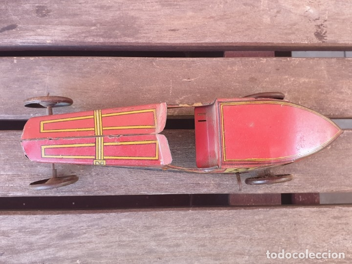 Juguetes antiguos Rico: ANTIGUO BOLIDO DE CARRERAS Nº 8 RICO DE HOJALATA (LATA) A CUERDA - Foto 2 - 179108911