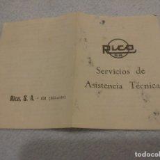 Juguetes antiguos Rico: FOLLETO ORIGINAL JUGUETES RICO. Lote 182479376