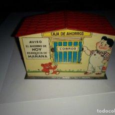 Juguetes antiguos Rico: ANTIGUA HUCHA CAJA DE AHORROS HOJALATA LITOGRAFIADA DE JUGUETES RICO - AÑO 1940-50 . Lote 183722116