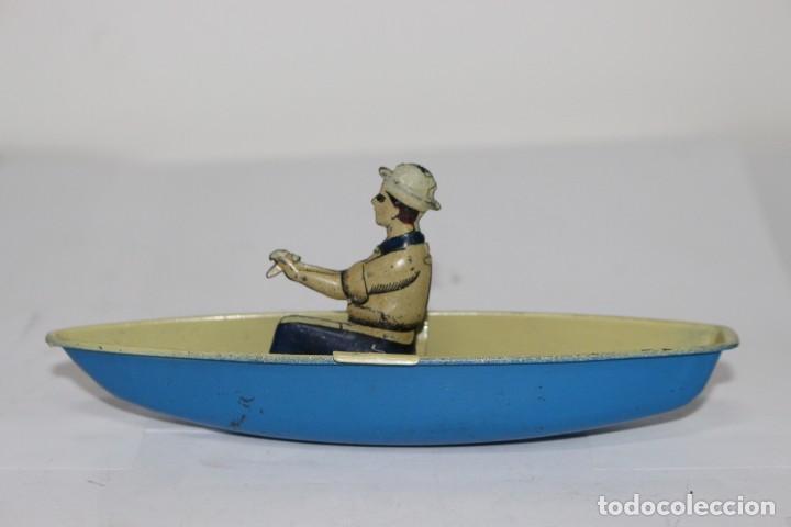 Juguetes antiguos Rico: Bote con pescador de Rico, años 40. Muy buen estado - Foto 3 - 190488628