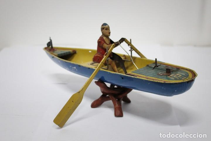 Juguetes antiguos Rico: Barca de remos nº 9 de R.S.A IBI. Rico, 36 cm. Original imposible de conseguir. Buen estado - Foto 2 - 190783963