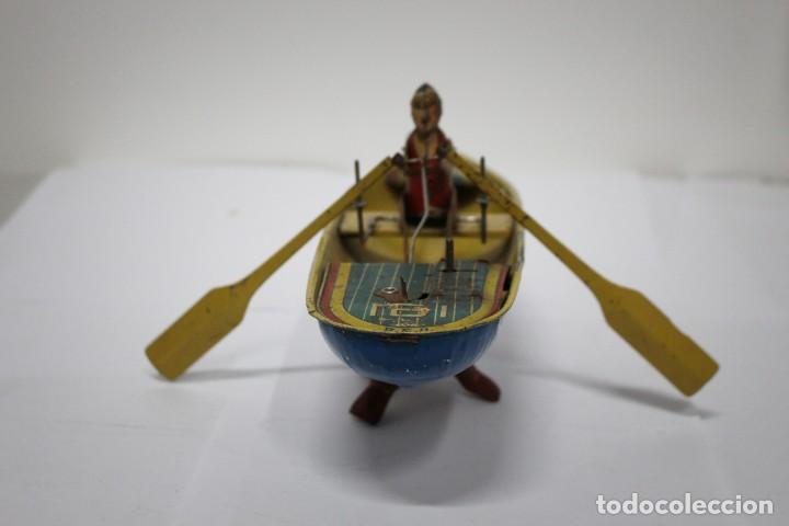 Juguetes antiguos Rico: Barca de remos nº 9 de R.S.A IBI. Rico, 36 cm. Original imposible de conseguir. Buen estado - Foto 3 - 190783963