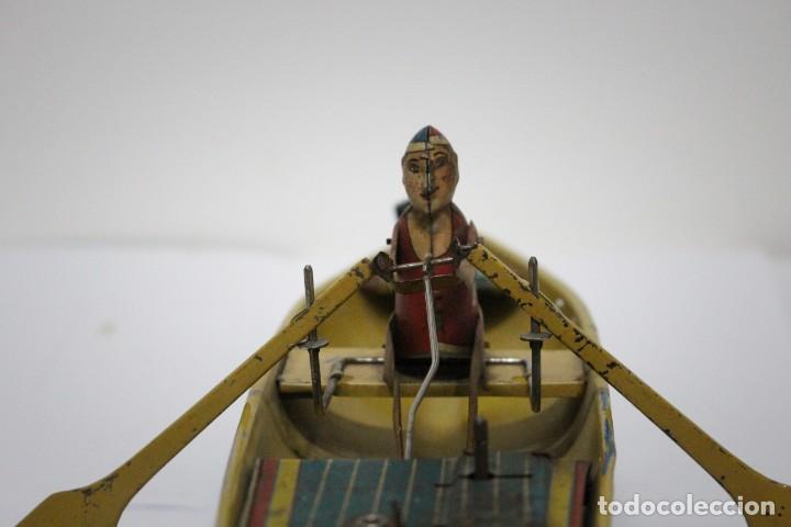 Juguetes antiguos Rico: Barca de remos nº 9 de R.S.A IBI. Rico, 36 cm. Original imposible de conseguir. Buen estado - Foto 4 - 190783963