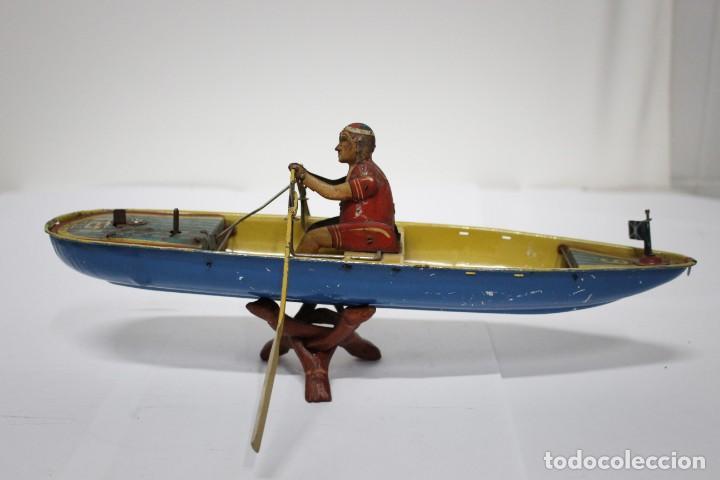 Juguetes antiguos Rico: Barca de remos nº 9 de R.S.A IBI. Rico, 36 cm. Original imposible de conseguir. Buen estado - Foto 5 - 190783963