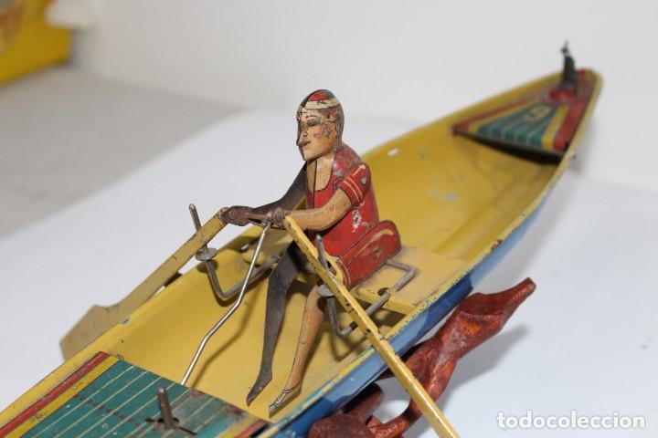 Juguetes antiguos Rico: Barca de remos nº 9 de R.S.A IBI. Rico, 36 cm. Original imposible de conseguir. Buen estado - Foto 6 - 190783963