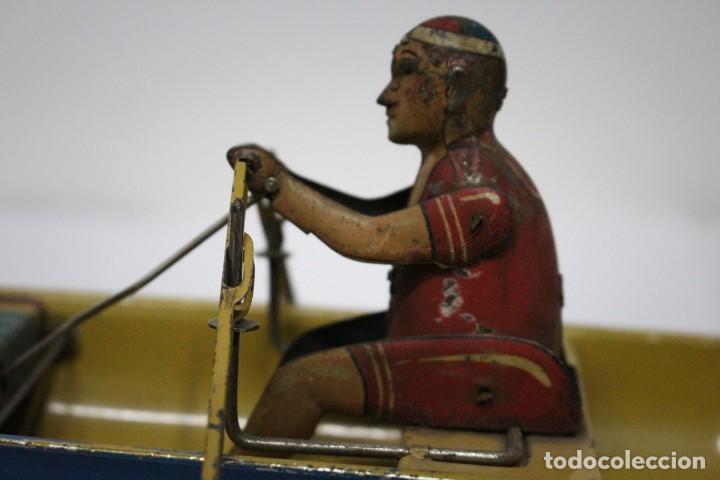 Juguetes antiguos Rico: Barca de remos nº 9 de R.S.A IBI. Rico, 36 cm. Original imposible de conseguir. Buen estado - Foto 7 - 190783963