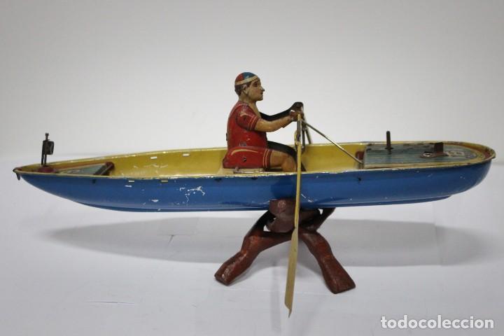 Juguetes antiguos Rico: Barca de remos nº 9 de R.S.A IBI. Rico, 36 cm. Original imposible de conseguir. Buen estado - Foto 9 - 190783963