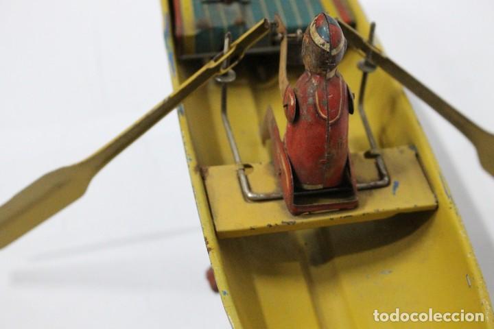 Juguetes antiguos Rico: Barca de remos nº 9 de R.S.A IBI. Rico, 36 cm. Original imposible de conseguir. Buen estado - Foto 10 - 190783963