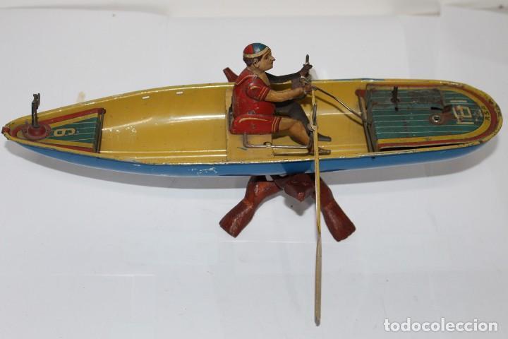 Juguetes antiguos Rico: Barca de remos nº 9 de R.S.A IBI. Rico, 36 cm. Original imposible de conseguir. Buen estado - Foto 15 - 190783963